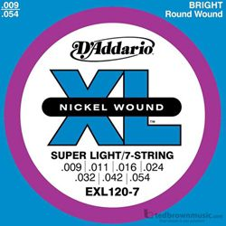 D'Addario Strings Guitar 7 String Super Light EXL120-7