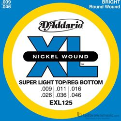 D'Addario Strings Guitar Super Light Top Regular Bottom EXL125