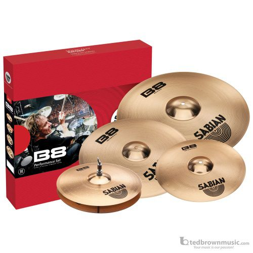"Sabian 45003G 14"" Hi Hats, 16"" Crash & 20"" Ride B8 Performance Cymbal Pack with Bonus 18"" Crash"