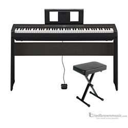 Yamaha P45B 88-Key Digital Piano Package with L85 Keyboard Stand and BB1 Padded Bench