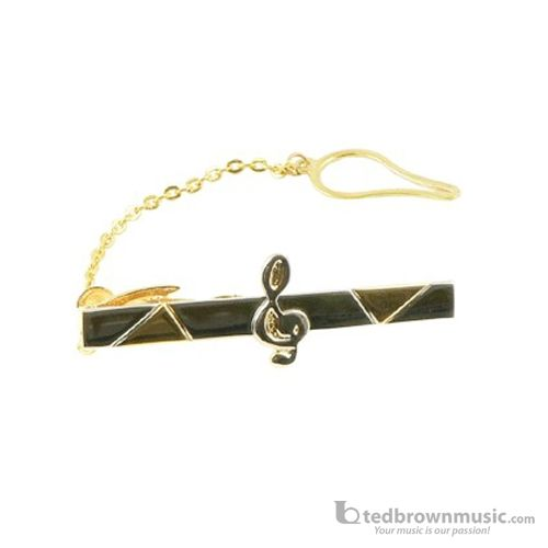 Aim Gifts Neck Tie Bar G-Clef Black & Gold 32011