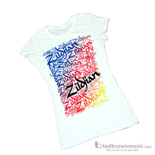 "Zildjian T-Shirt Women's ""Graffiti"" White T682"