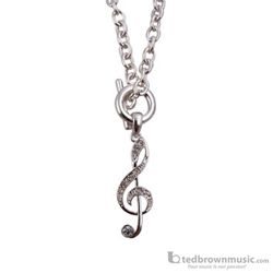 Aim Gifts Necklace G Clef Toggle Silver with Rhinestones N464