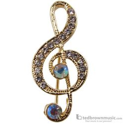 Aim Gifts Brooch G-Clef Goldtone with Iridescent Rhinestones RB335