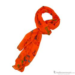 Aim Gifts Scarf Dark Orange with Multi-Colored Notes 56462F