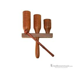 Agogo Triple Wooden Dobani with Mallet