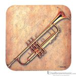 Aim Gifts Coaster Trumpet & Sheet Paper Square Shaped 29890