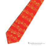 Music Treasures Neck Tie Red with Yellow Staff 130216