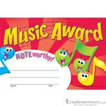 "Music Treasures Award Certificate ""Noteworthy Music Award"" 930170"