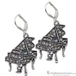 Aim Gifts Earrings Piano Silver with Crystals E117
