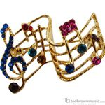 Aim Gifts Brooch G-Clef & Notes with Multi-Colored Rhinestones RB334