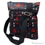 Aim Gifts Bag Messenger Satin Black with Multi-Colored Symbols 49524