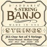 D'Addario Strings Banjo Nickel Medium J61