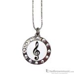 Aim Gifts Necklace G Clef Silver with Rhinestone Circle N440