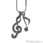 Aim Gifts Necklace G Clef & Eighth Note with Rhinestones N419