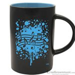 Aim Gifts Mug Cafe Style Black with Blue Note Burst 56157