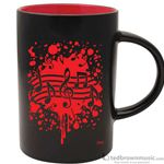 Aim Gifts Mug Cafe Style Black with Red Notes Burst 56158