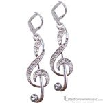 Aim Gifts Earrings G-Clef Silver with Crystals E118