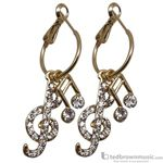 Aim Gifts Earrings Gold Notes & Clefs with Crystals ER434