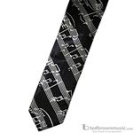 Aim Gifts Neck Tie Skinny Black with White Music Staff 6383