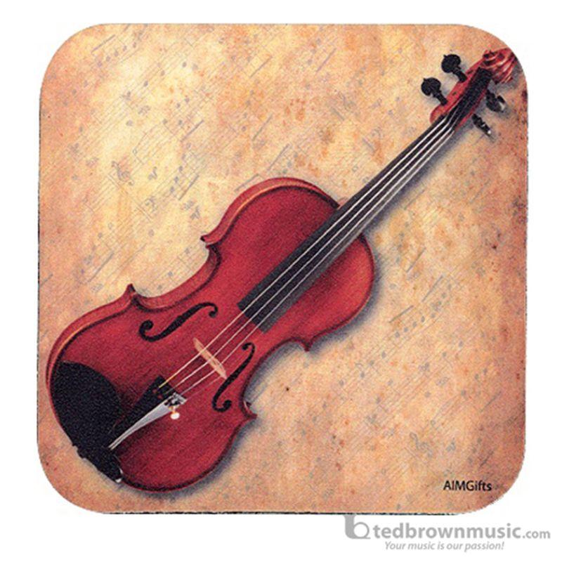 Aim Gifts Coaster Violin & Sheet Music Square Shaped 29891