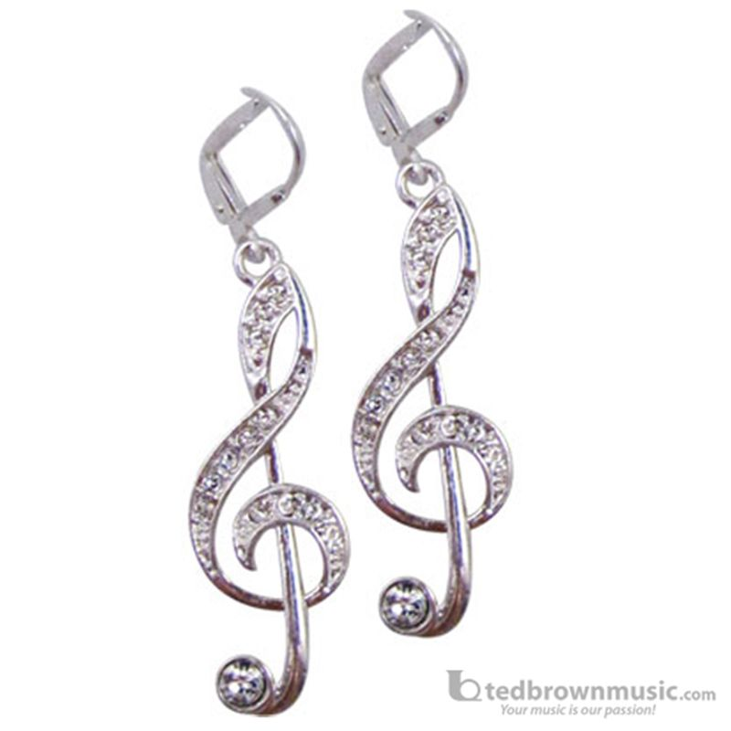 Aim Gifts Earrings G Clef Silver With Crystals E118