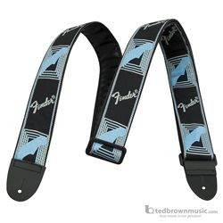"Fender Guitar Strap 2"" Monogrammed Black, Blue & Grey 0990681502"