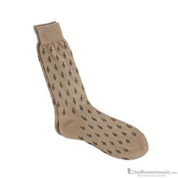 Aim Gifts Socks Mens G Clefs Khaki & Black 10026B