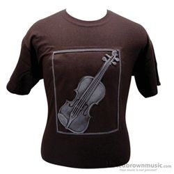 Aim Gifts T-Shirst Embossed Violin Brown & White 82603