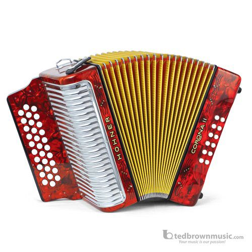 Hohner 3500GR Corona II G,C & F Accordion Red