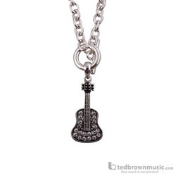 Aim Gifts Necklace Guitar Toggle Silver with Rhinestones N466