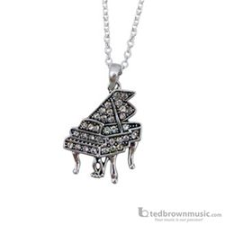Aim Gifts Necklace Grand Piano Silver with Rhinestones N449
