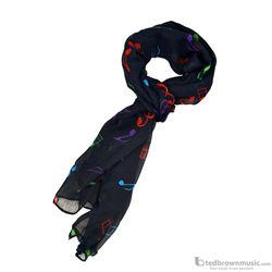 Aim Gifts Scarf Navy Blue with Multi-Colored Notes 56462H