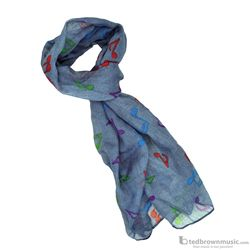 Aim Gifts Scarf Light Blue with Multi-Colored Notes 56462I